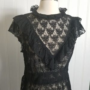 Free People Lace, High Button Neck, Peplum Top
